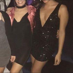 LF Dresses - LF black sequence deep v dress